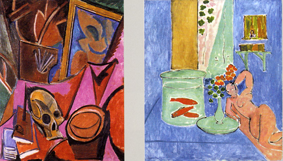 """Still Life with a Skull"" by Picasso and ""Goldfish and Sculpture"" by Matisse"