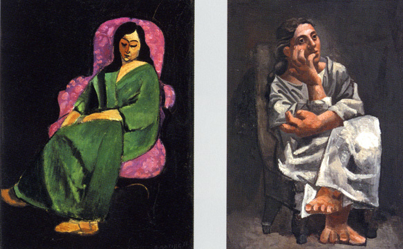 """Lorette in a Green Robe..."" by Matisse and ""Seated Woman"" by Picasso"