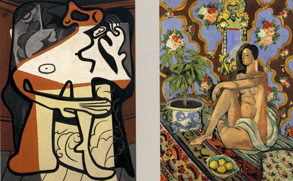 """Woman in an Armchair"" by Picasso and ""Decorative Figure on an Ornamental Background"" by Matisse"