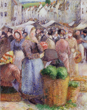 """The Market on the Grand-Rue, Gisors"" by Pissarro"