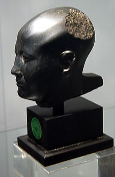 Basalt head of a man, Egyptian