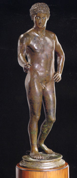 Roman bronze young god or athlete