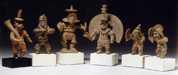 Six Colima figurines
