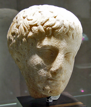 Roman marble head of Narcissus