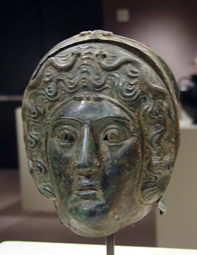 Front view of Roman bronze calvary parade helmet
