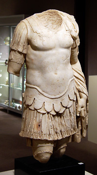 Roman marble cuirassed statue