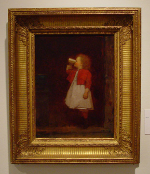 """Little Girl with Red Jacket Drinking From Mug"" by Johnson"