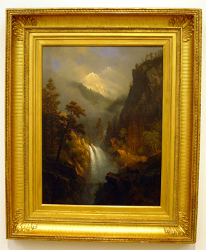 """Cascading Falls at Sunset"" by Bierstadt"