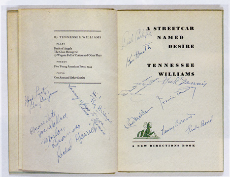 "autographed copy of ""A Streetcar Named Desire"""