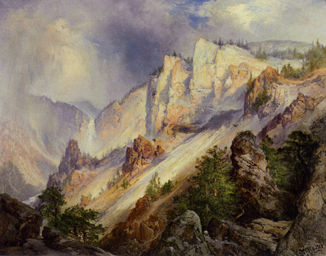 """A passing shower in the Yellowstone Canyon"" by Moran"