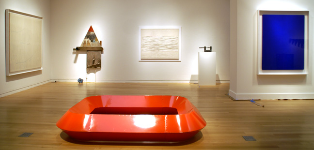 """Untitled"" sculpture by Judd, center, and ""IKB1"" by Klein, right"