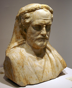 Roman marble portrait bust of a priest