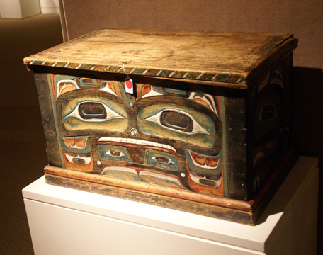 Kwakiutl painted and carved wood chest