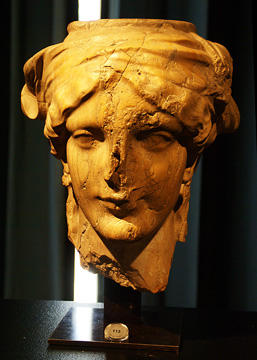 Marble Hellenistic head of a caryatid