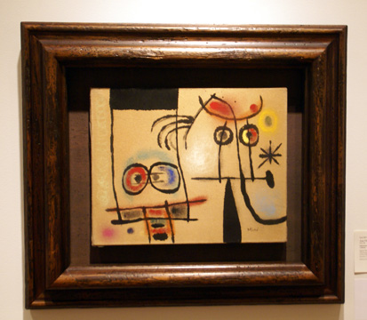 """People surprised by bird-snake"" by Miró"