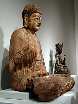 Seated wooden Buddha