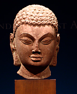 """head of a Jina"" red sandstone, India, Gupta Period, mid-5th Century"