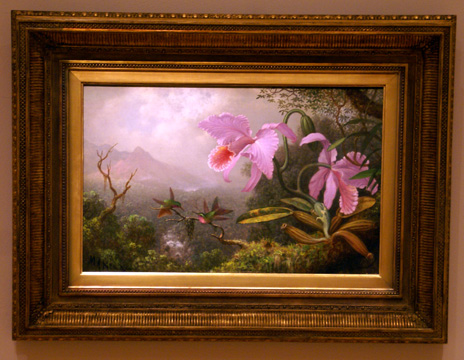 """Two Sun Angel Hummingbirds ona Branch Near Two Orchids"" by Heade"