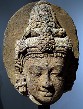 Andesite head of a deity from Central Java