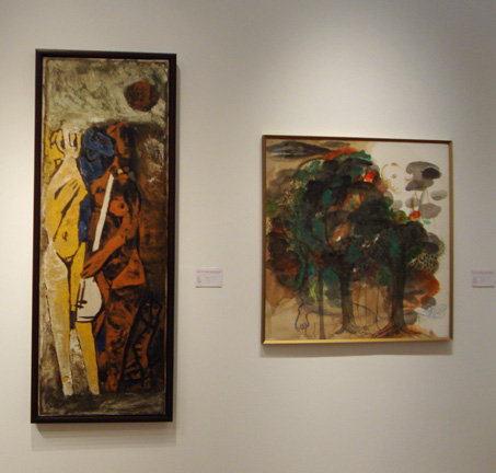 """Untitled (Musicians)"" by Husain, left, and ""Untitled"" by Khakar, right"