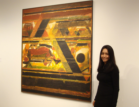 Deepanjana Klein next to untitled work by Raza