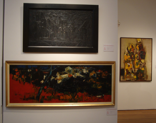 """Landscape in Black"" by Souza, top, and ""Untitled"" by Raza, bottom"