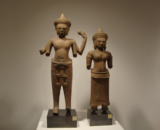 Pair of sandstone figures from Khmer