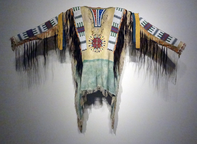 Oglala Sioux beaded and fringed hide war shirt