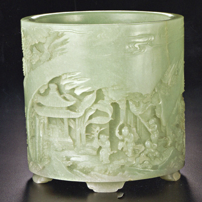 """Hundred Boys'"" celadon jade brushpot"