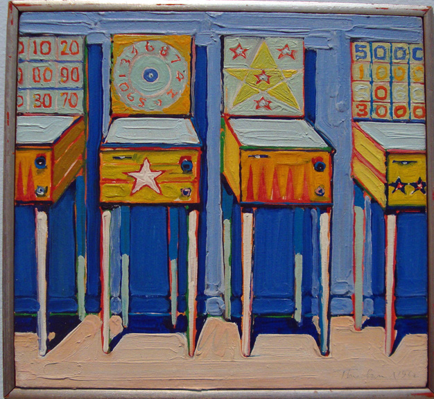 """Four Pinball Machines (study)"" by Thiebaud"