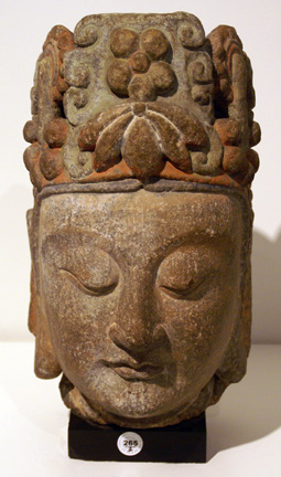 Polychrome and gilt stucco head of a Bodhisattva