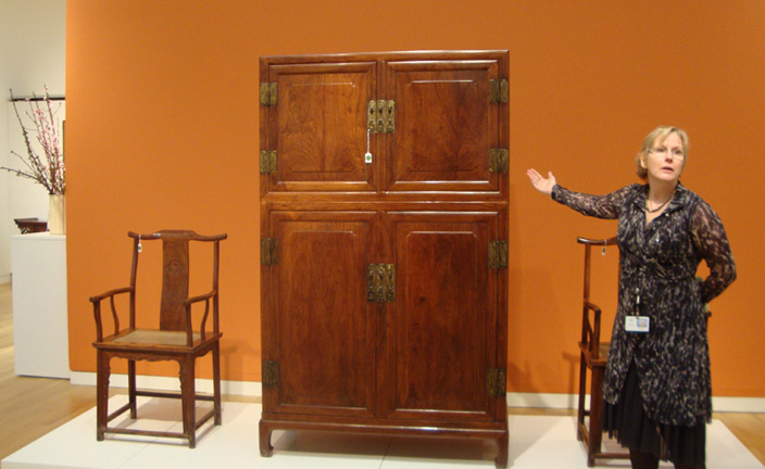 Cynthia Volk with Huanghuali furniture