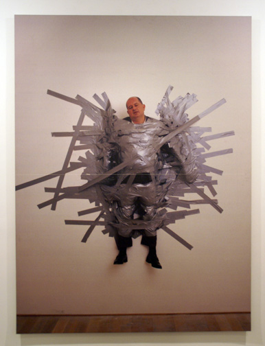 Taped man by Cattelan
