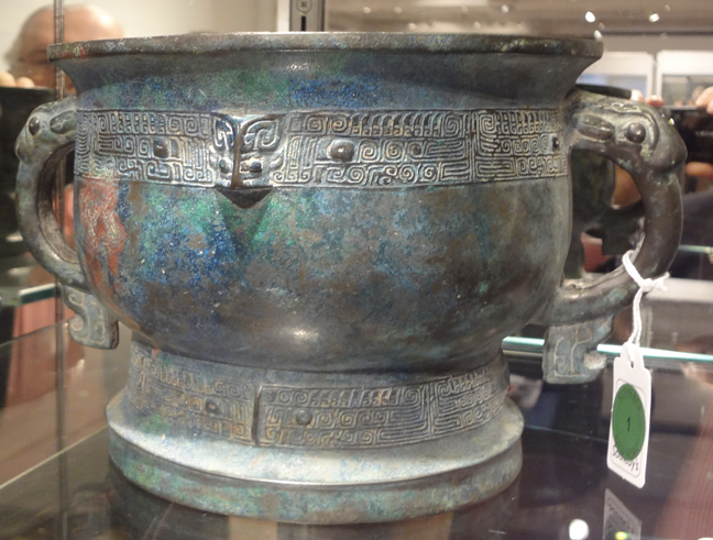 Blue bronze pot