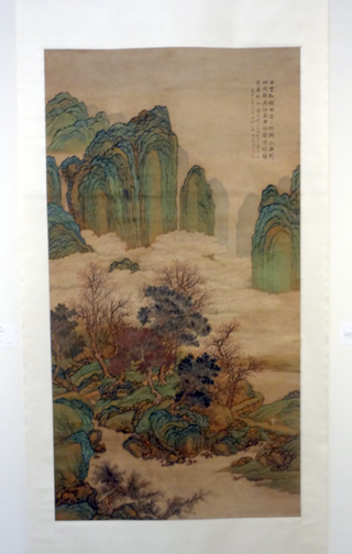 Green hanging scroll