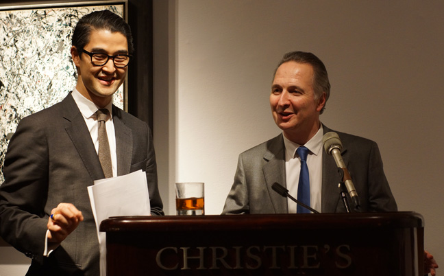Koji Inoue, head of the evening sale, and Brett Gorvy, chairman and international head of Post-War and Contemporary Art at post-auction press conference