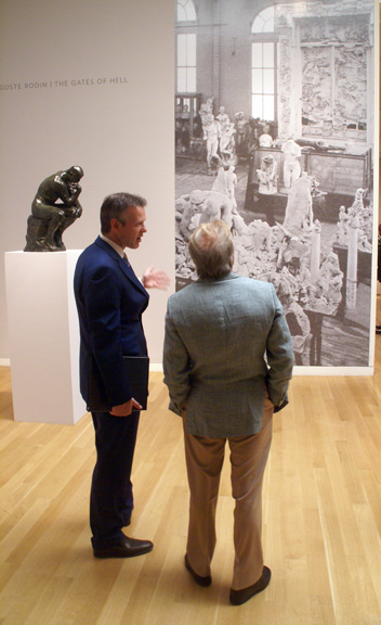 Simon Shaw discussing Rodin's Gates of Hell at exhibition