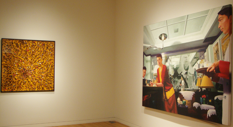 Work by Kher, left, and Karmakar, right