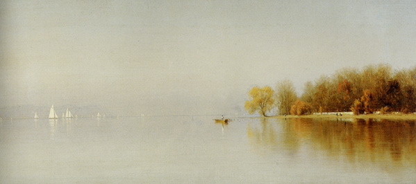 "Large detail of ""An Indian Summer's Day on the Hudson Tappan Zee"" by Gifford"