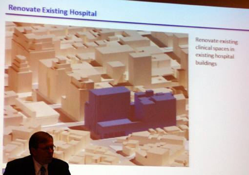 Massing of existing hospital buldings on east side of avenue
