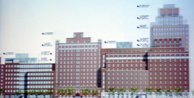 Rendering of 12th Street elevation showing slight changes to existing buildings