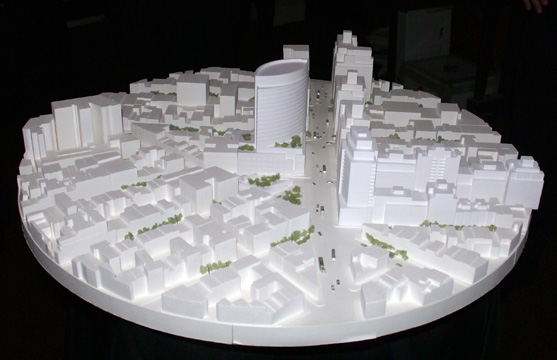 Model of revised plan looking up Seventh Avenue from the south