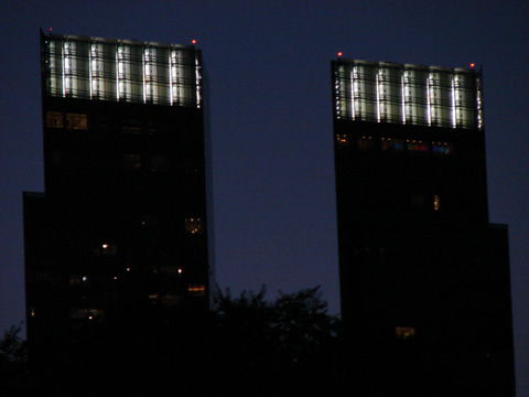Nightime illumination of top of towers