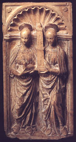 Marble relief of Saints Agnes and Barbara