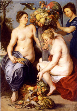 """Nymphs Filling the Horn of Plenty"" by Studio of Sir Peter Paul Rubens"
