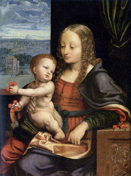 """Madonna of the Cherries"" by studio of Joos van Cleve"