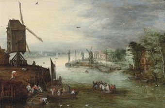"""A River Landscape with a Ferry"" by Jan Brueghel II"