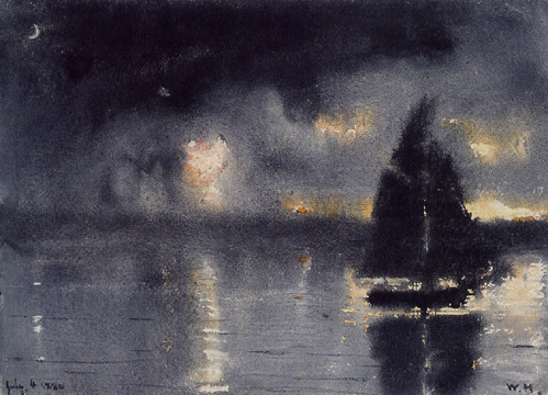 """Sailboat and Fourth of July Fireworks"" by Winslow Homer"