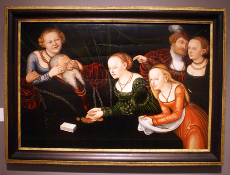 """Old Man Beguiled by Courtesans"" by Cranach"