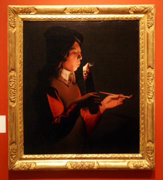 """Young Boy with a Pipe"" by studio of Georges de La Tour"